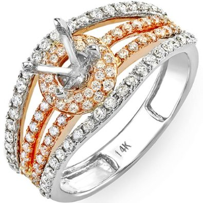 White & Rose Gold Two Tone Round DiamondEngagement Ring