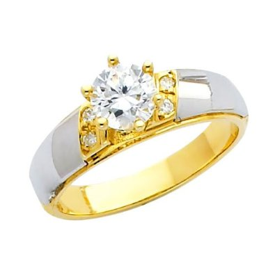 Yellow and White 2 Two Tone Gold Engagement Ring