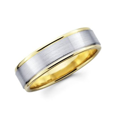 Yellow and White 2 Two Tone Gold Wedding Band