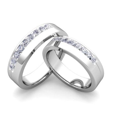 Matching Wedding Bands Channel Set Diamond Wedding Ring Band in Platinum  - 07SS01