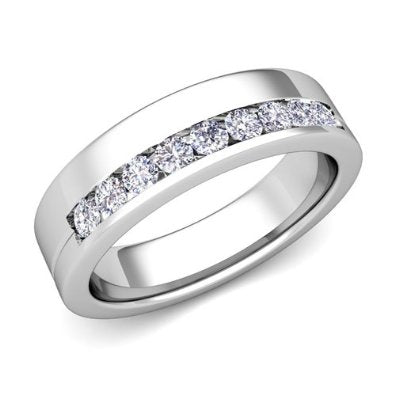 Diamond Wedding Band Ring in Platinum  - 07SS03