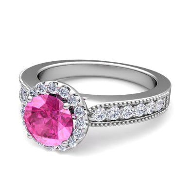 Diamond and Pink Sapphire Engagement Ring in Platinum - 07SS04