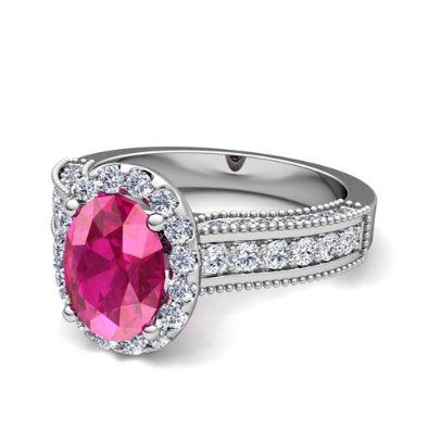 Diamond and Pink Sapphire Engagement Ring in Platinum - 07SS05