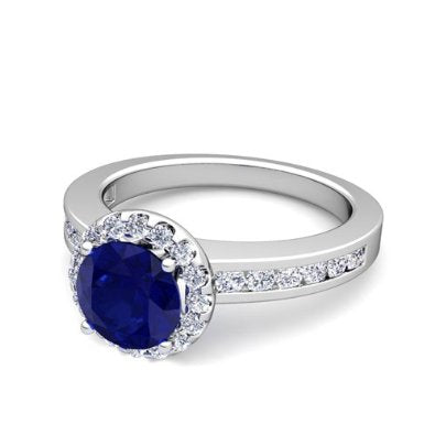 Diamond and Sapphire Engagement Ring in Platinum - 07SS06