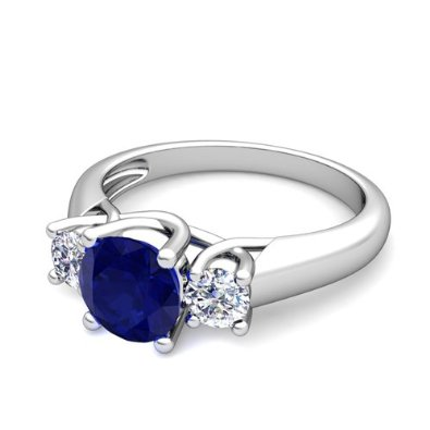 Diamond and Sapphire Trellis Engagement Ring in Platinum - 07SS07