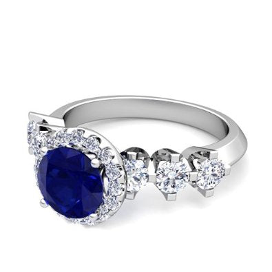 Diamond and Sapphire Engagement Ring in Platinum - 07SS10