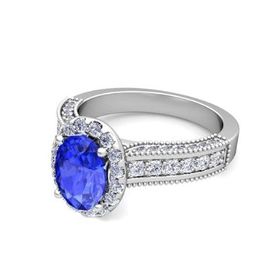 Diamond and Ceylon Sapphire Engagement Ring in Platinum - 07SS11