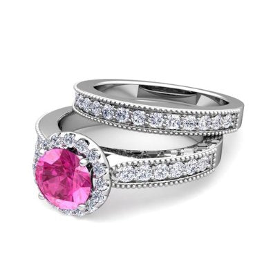 Diamond and Pink Sapphire Halo Engagement Wedding Ring Set  -07SS12
