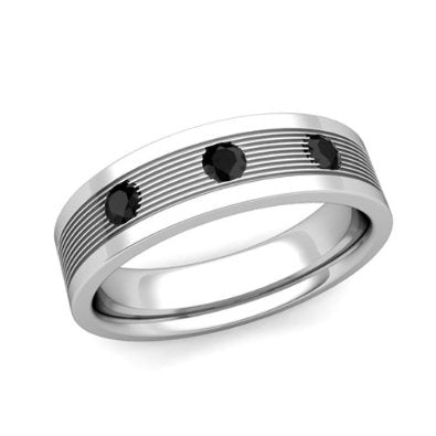 Black Diamond Wedding Ring for Men Him in Platinum  - 07SS14