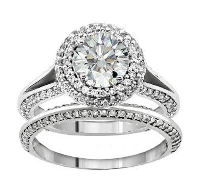 2.20 CT TW Diamond Encrusted Halo Engagement Bridal Set in Platinum - 07SS17