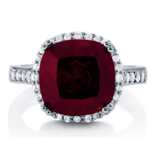 CZ Garnet 925 Silver Halo Cocktail Ring - 08AB04