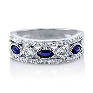 Sterling Silver Sapphire Wedding Band - 08AB06