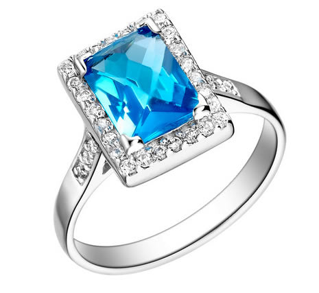 Aquamarine Sterling Silver 925 Engagement Ring - 08AB20