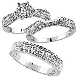 Sterling Silver Wedding Set - 08AB28