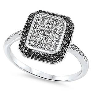 Black & White Cz Sterling Silver Engagement Ring - 08AB40