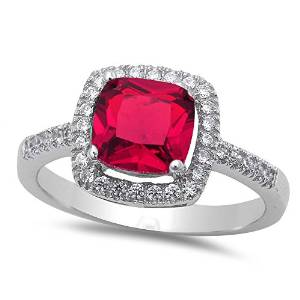 Sterling Silver Halo Ruby Engagement Ring - 08AB46