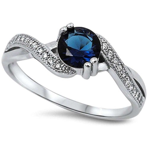 Blue Sapphire Sterling Silver Engagement Ring -  08AB48