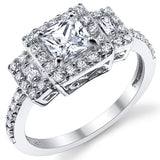 Princess Cut Micro Pave Sterling Silver Engagement Ring - 08AB55