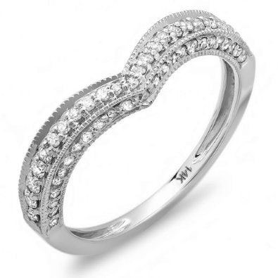 White Gold Round Diamond Ladies Anniversary Wedding Band -08GG11