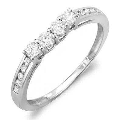 White Gold Round Diamond Ladies Anniversary Wedding Band Ring