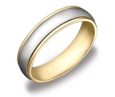 Gold Two-Tone 6mm Men's Wedding Band