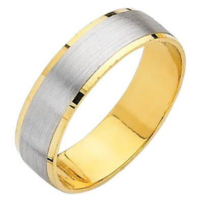 Yellow and White 2 Two Tone Gold Matte Embossed Designer Wedding Band