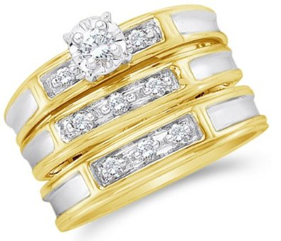 Yellow and White Two Tone Gold Diamond Mens and Ladies Couple His & Hers Trio