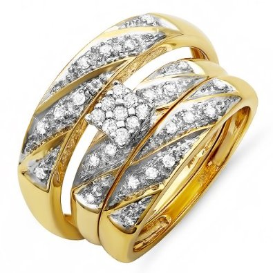 Yellow Gold Round Diamond Trio Set