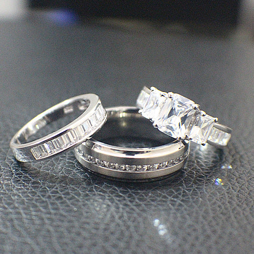 Sterling Silver with Titanium Wedding Set - 09AB12