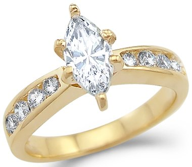 Yellow Gold Solitaire Marquise Engagement Ring