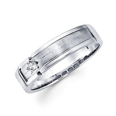 White Gold Mens Diamond Wedding Ring Band