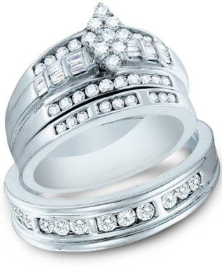 White Gold Mens and Ladies Trio Ring Band Set