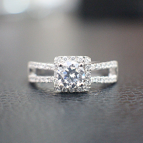 Sterling Silver Engagement Ring - 10AB02
