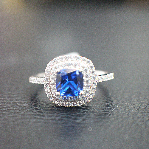 Sterling Silver Sapphire Halo Engagement Ring - 10AB12