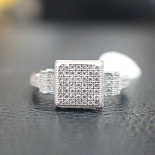 Sterling Silver MIcro-Pave Engagement Ring - 10AB14