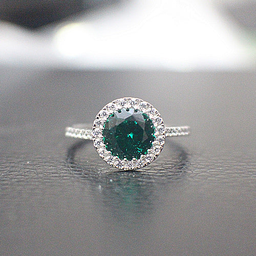 Emerald Sterling Silver Engagement Ring - 10AB18