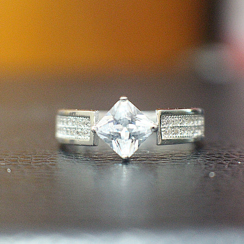 Sterling Silver Engagement Ring - 10AB33