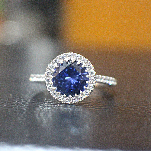 Sapphire Sterling Silver Engagement Ring - 10AB46