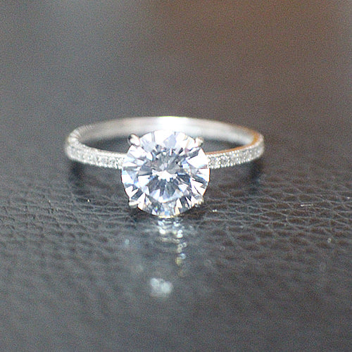 Solitare Sterling Silver Engagement Ring - 10AB48
