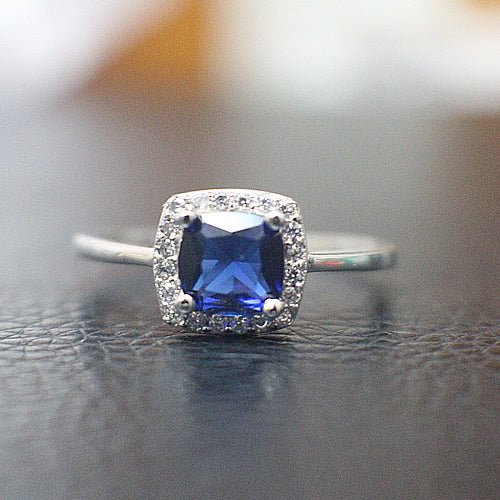 Sterling Silver with Sapphire Engagement Ring - 10AB68