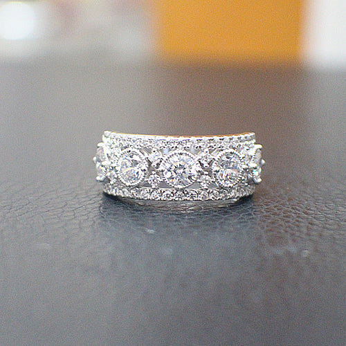 Sterling Silver Engagement Ring -  10AB85