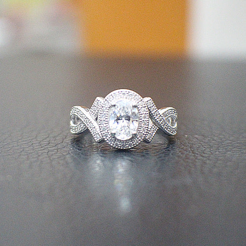 Sterling Silver Engagement Ring - 10AB91