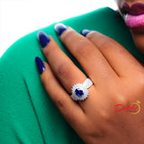 Sterling Silver Sapphire Engagement Ring - 10AS17
