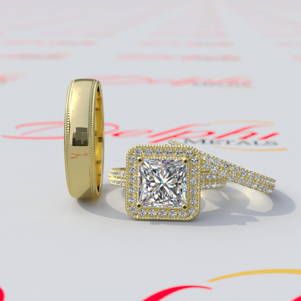 2.0ct Princess Cut Complete Trio Set -  10GG53