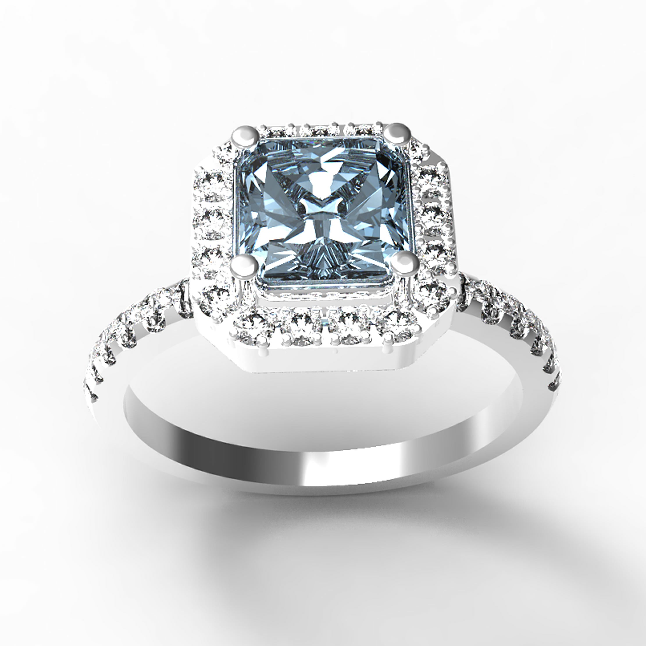Aquamarine Gold Engagement Ring - 10GG67