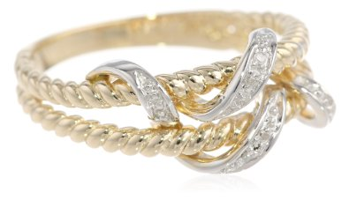 10k Gold Rope Diamond Ring - 12GG78