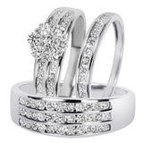 Round Cut Diamond Trio Matching Wedding Ring Set - 12GG84