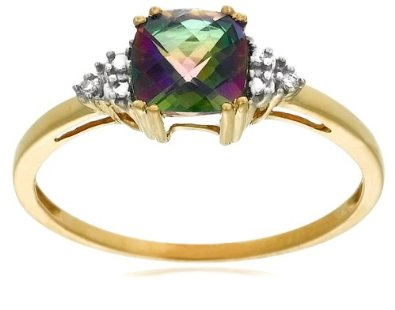 10k Yellow Gold, Mystic Topaz and Diamond Engagement Ring - 12GG98