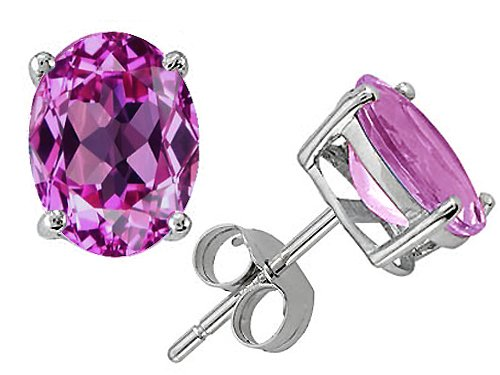 Pink Sapphire Oval 8x6mm Earring Studs