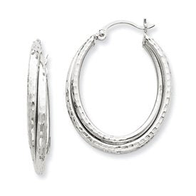14K Wg D/C Polished Oval Hoop Earring